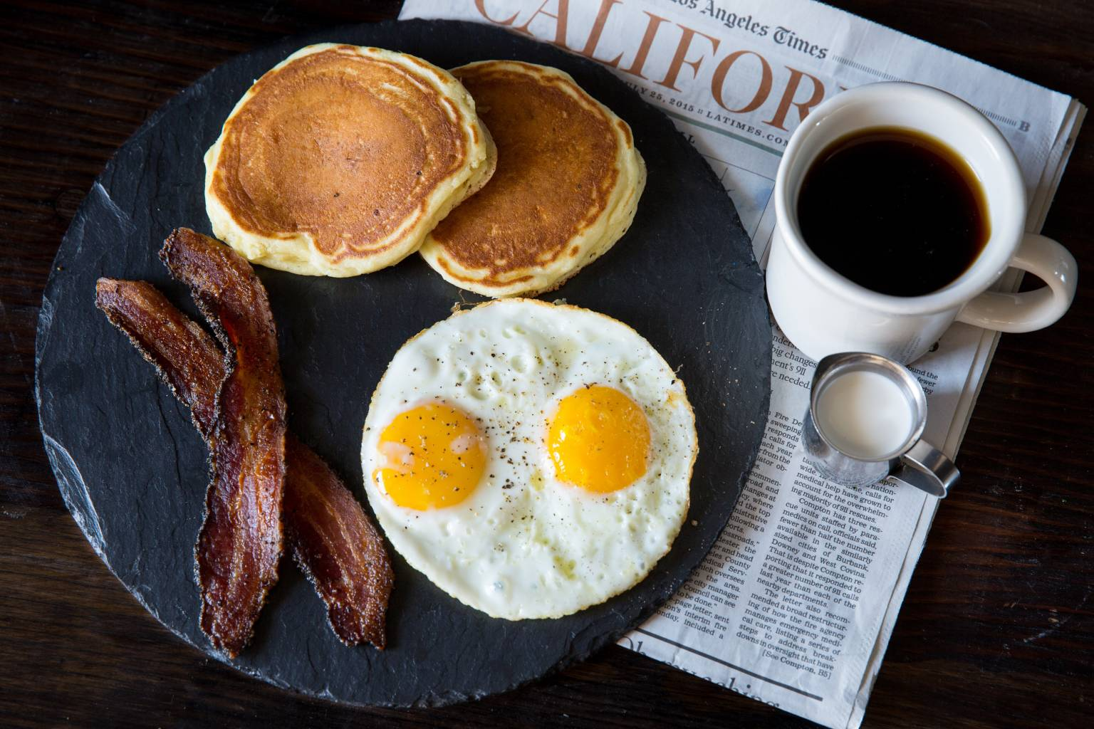 Enjoy your morning newspaper and coffee with eggs, bacon and pancakes.