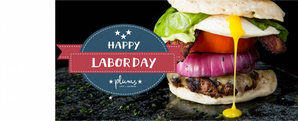 Happy Labor Day Hangover Burger, An Thick Beef Patty with Fried Egg, Red Onion, Pepper Jack Cheese, Tomato and Bacon on an english muffin.