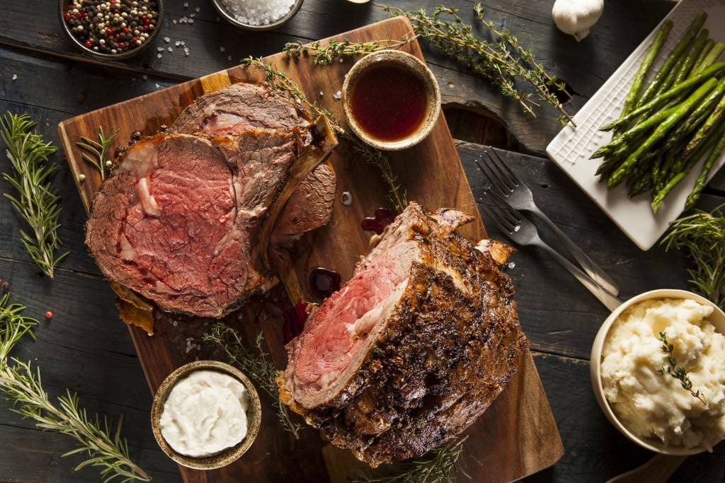 Holiday Prime Rib with Asparagus and Mashed Potatoes