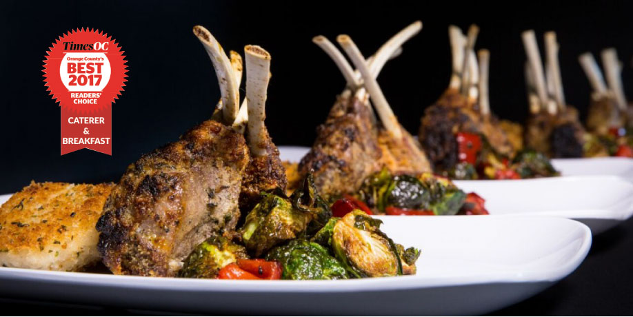 Catering Dinner Roasted Lamb Shanks with seasonal vegetables and risotto cakes